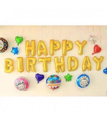 بادکنک فویلی Happy Birthday طلایی